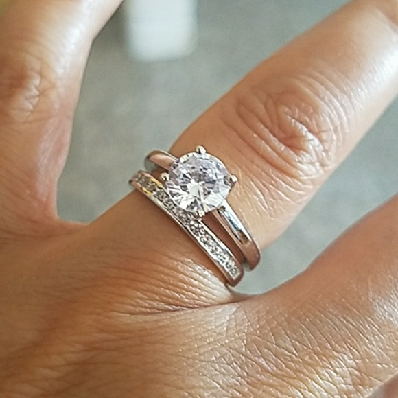 Jewelry | 1ct Solitaire Engagement Ring Wedding Band 2pc | Poshmark